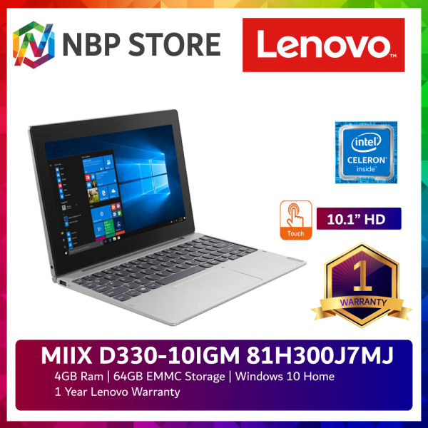 Lenovo MIIX D330-10IGM 81H300J7MJ 10.1 Touch 2-in-1 Laptop Grey ( Celeron N4000, 4GB, 64GB, Intel, W10 ) Malaysia