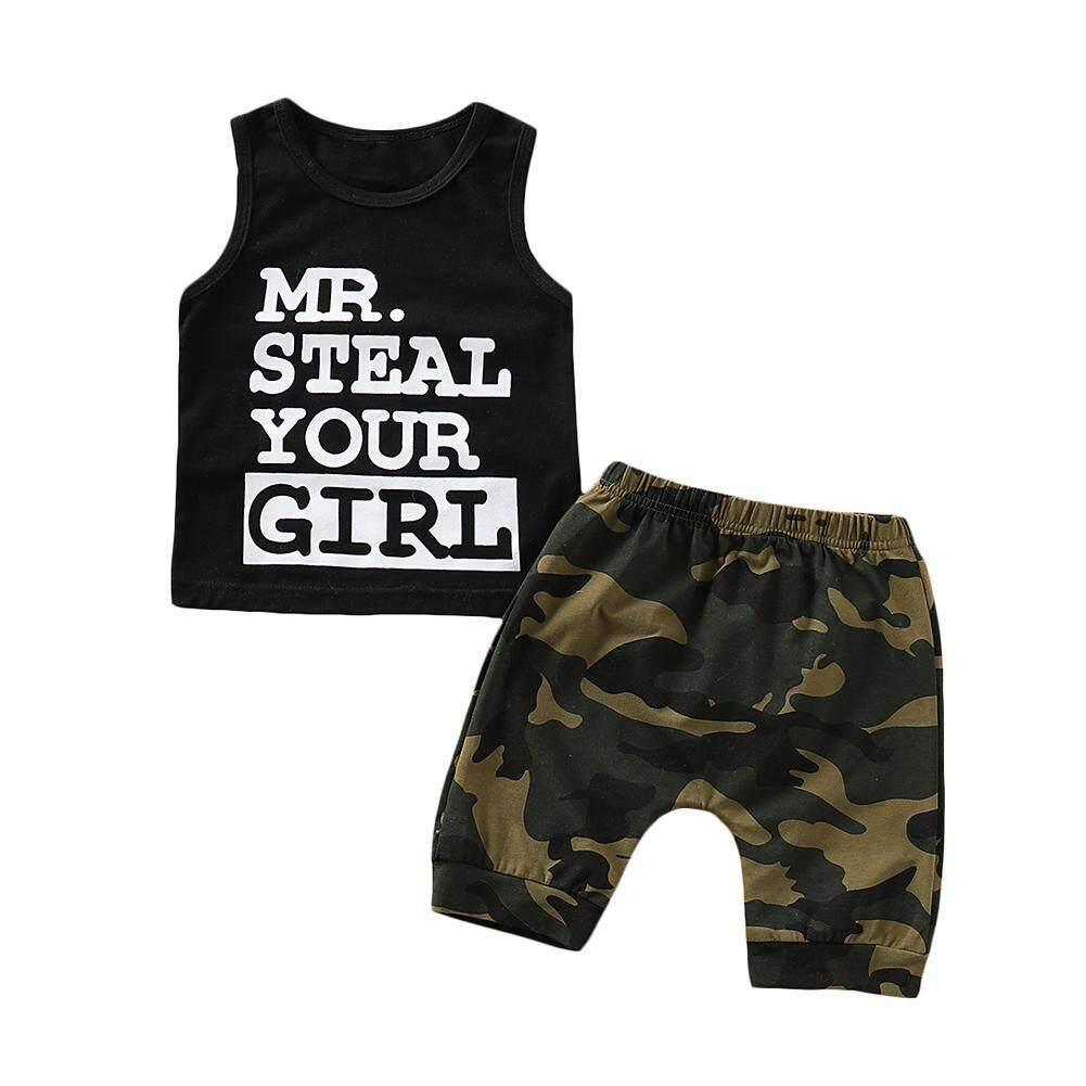 0-24M New Born Baby Clothes 2pcs Set Black Letter Print Tshirt For Boys