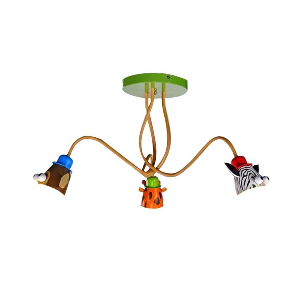 Chandelier Langit-langit untuk Anak-anak, Unisex Pencahayaan Ideal untuk Kamar Tidur, Motif: Jerapah, Monyet dan Zebra