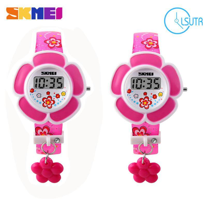 2 PCS/SET Skmei 1144 Fashion Creative Childrens Digital Electronic Girls Watch Purple & Rose Red Watch For Kid Malaysia