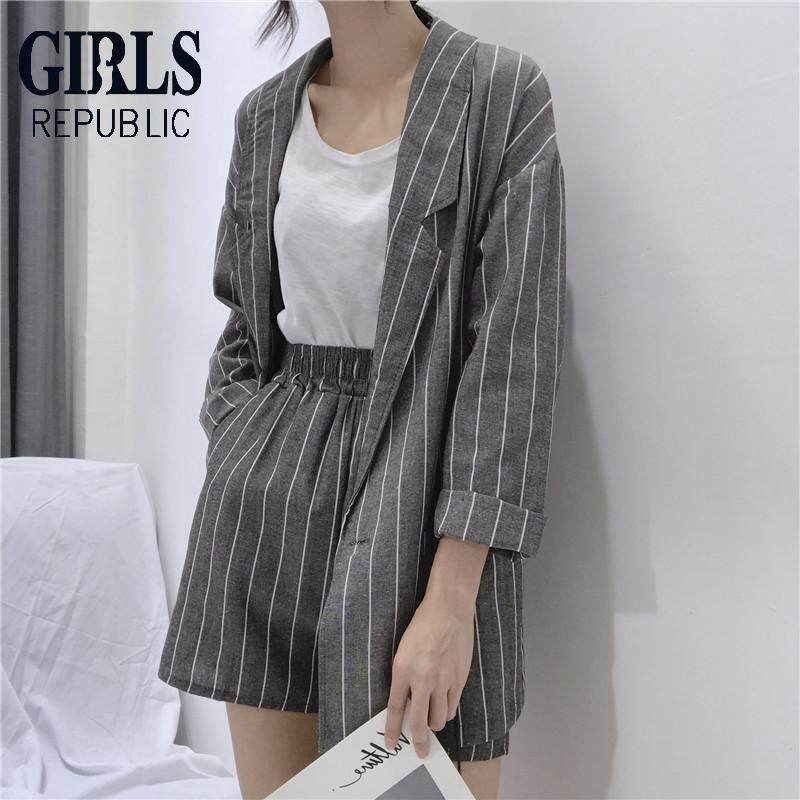 9ac21f4d3fc Girls Republic lowest price suit suit female Korean casual long-sleeved  blazer jacket + striped