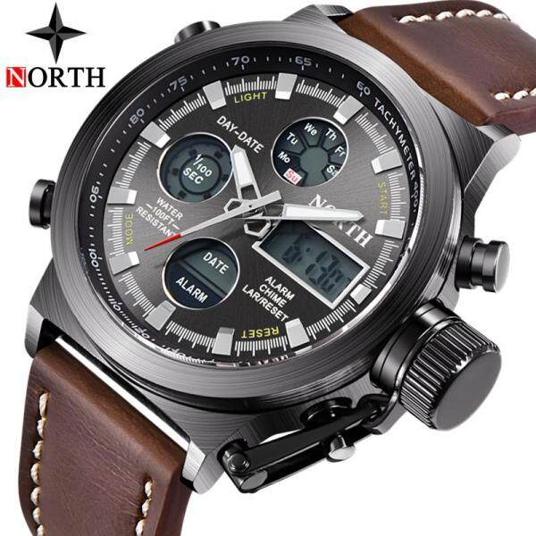 NORTH Hot Fashion Casual Men LED Digital Quartz Watch Mens Watches Top Brand Luxury Men Leather Waterproof Sports Military Clock Watch Malaysia