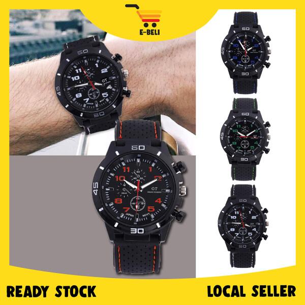 [Ready Stock] E-BELI Grand Touring Racing Pilot Silicone Fashion Analog Sport Men Watch Jam Tangan Lelaki Malaysia