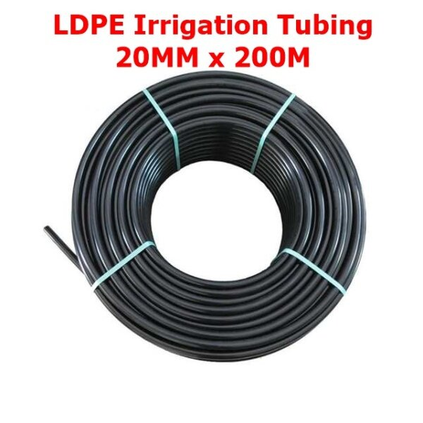 LDPE Irrigation Poly Pipe (20MM x 200M) Agriculture Fertigasi Water Tubing Fertigation Farm Polypipe
