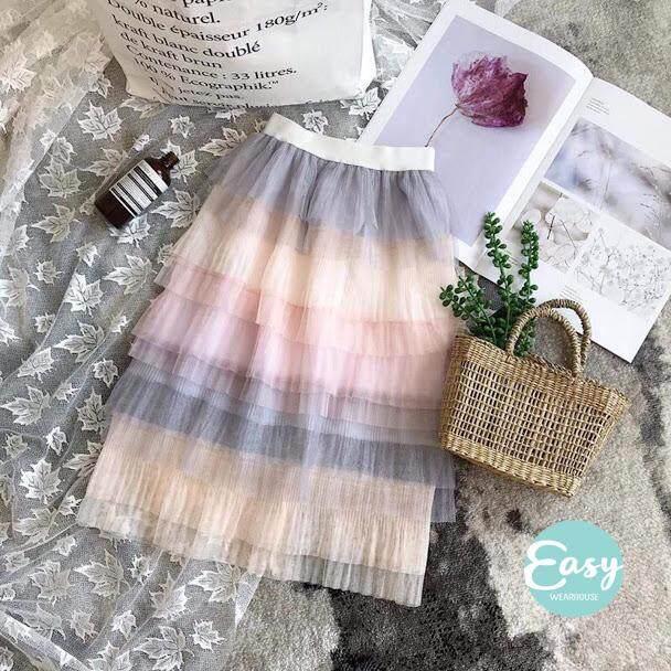 26039d02596b READY STOCK Kids Girls Elastic Waist Gradient Rainbow Cake Long Skirt Tutu  Skirt