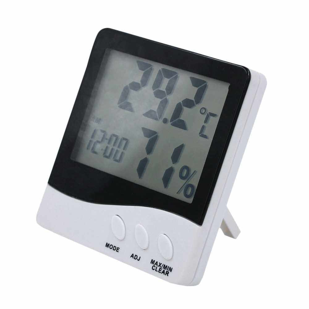 Indoor and Outdoor Digital LCD Thermometer Hygrometer Time Calendar Temperature Humidity Gauge Meter with Clock (Standard)