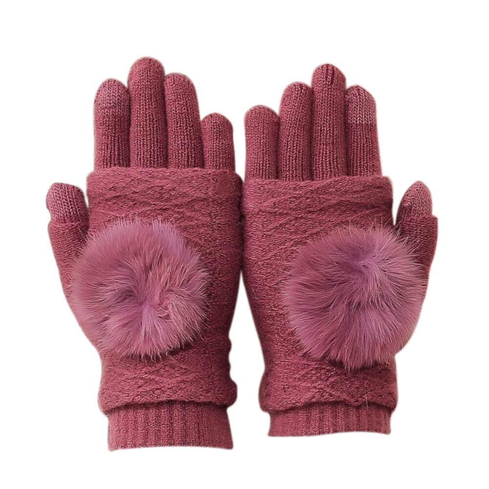 Windycat Musim Dingin Wanita Bulu Lembut Bola Kasmir Palsu Layar Sentuh Penuh Jari Sarung Tangan Hangat