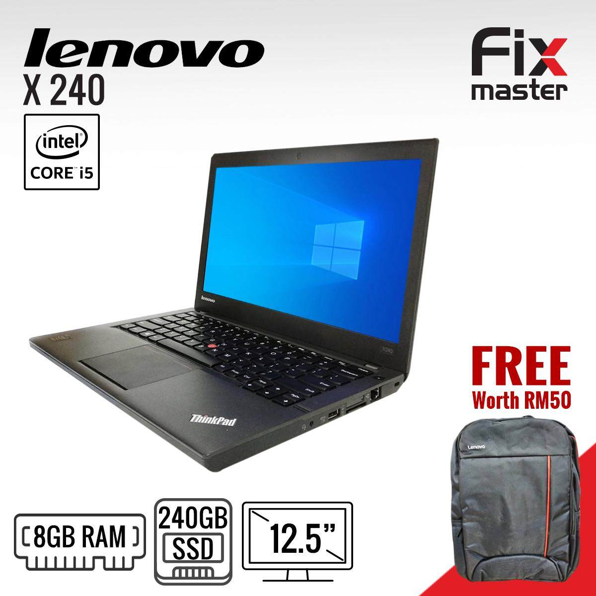 Lenovo ThinkPad X240 Laptop/ Intel Core i5- 4th generation / 12.5 inches / Brand new 120GB SSD / Brand New 4GB RAM / 12 months warranty (Refurbished) / Excitement like brand new Malaysia