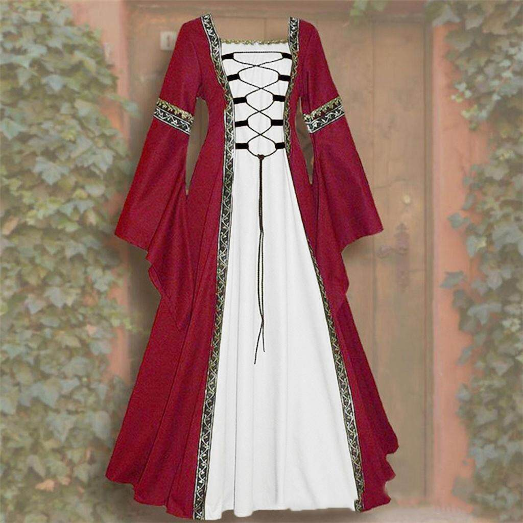 YUWENHUAJI SHOP·Women's Vintage Celtic Medieval Floor Length Renaissance  Gothic Cosplay Dress