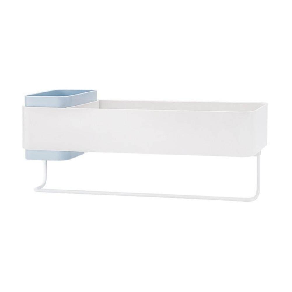 อุปกรณ์ห้องน้ำไม่มีเจาะที่เก็บติดกาวชั้นวางของติดผนังความจุมาก By Beauty520.