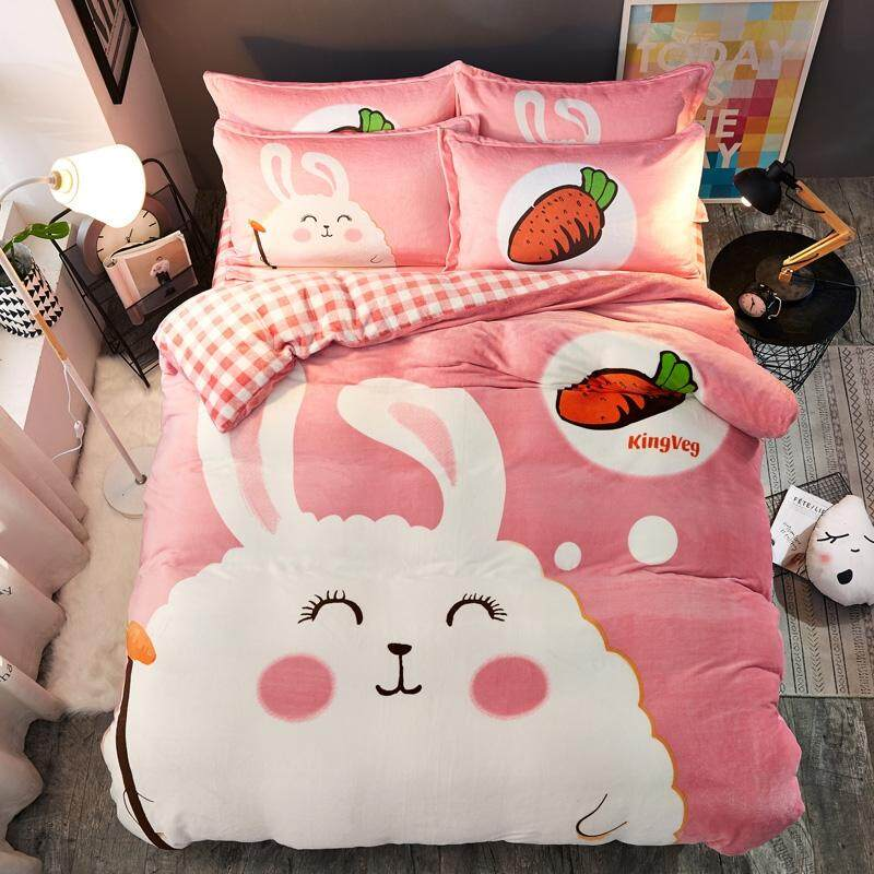 Pretty Cartoon Flannel Warm Bedding Set 4PCS