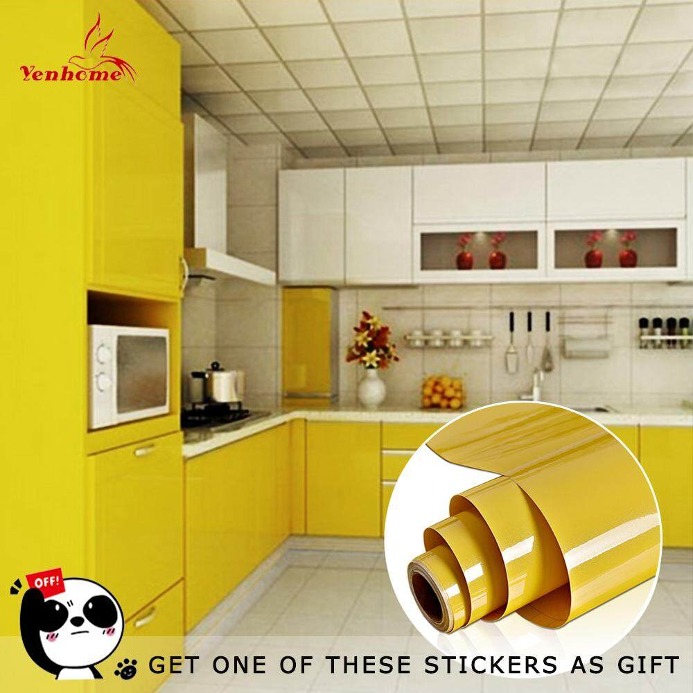 Yenhome High Glossy Yellow Removable Peel and Stick Vinyl Contact Paper for Cabinets Waterproof Self adhesive Shelf Liner Kitchen Decor Wallpaper Stickers 40cm*1m