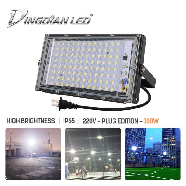 Đèn Pha LED DINGDIAN LED 220V Có Phích Cắm Ngoài Trời Chống Nước 100W Công Suất Hoàn Hảo Trắng Lạnh, Đèn Pha Màu Trắng Ấm Đèn Pha Led Siêu Sáng Seachlight