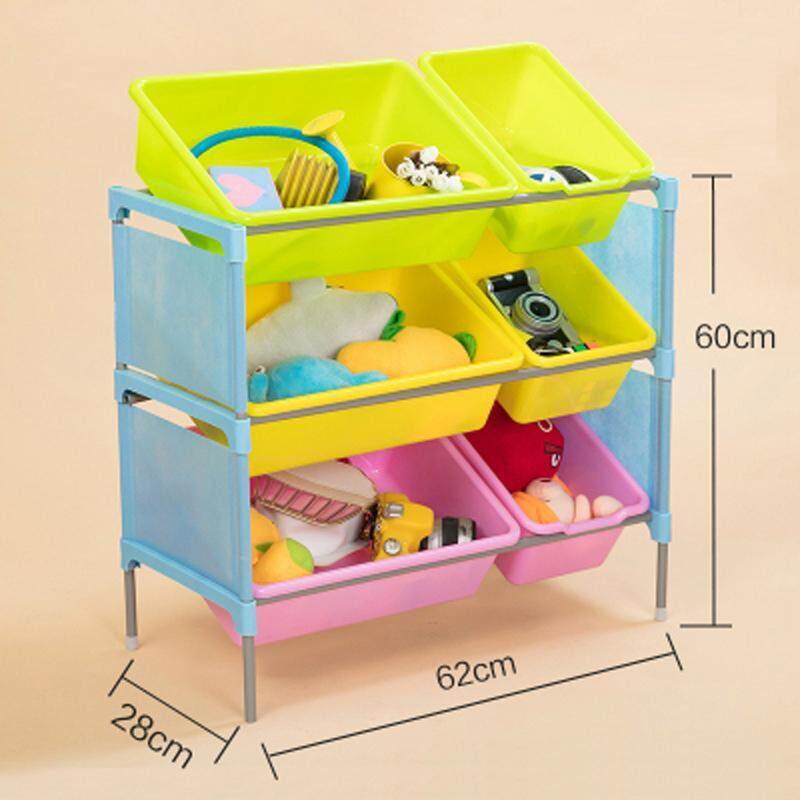 RuYiYu - 62 X 60 X 28cm, 3 Layers Kids Toy Organizer and Storage Bins, 3 Big + 3 Small Bins in Fun Colors, Toy Storage Rack