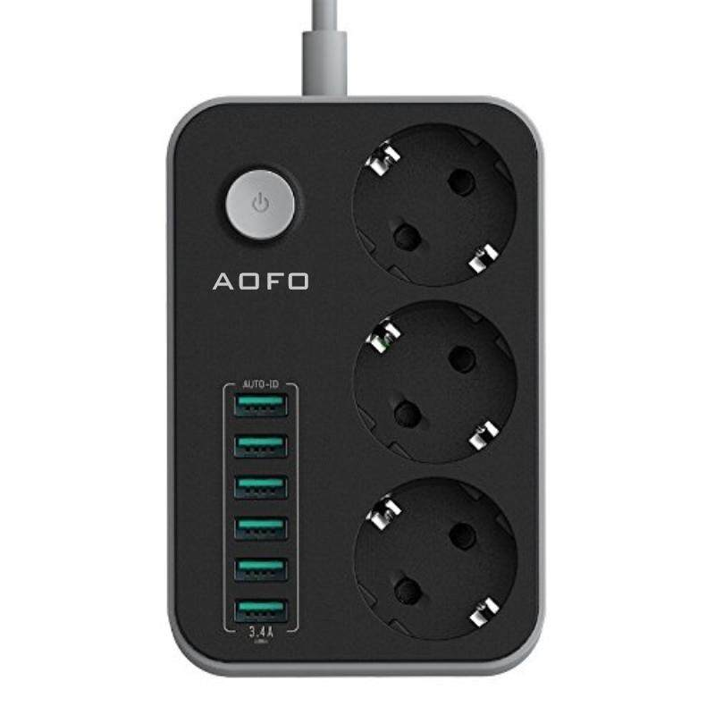 Network filter 3-Outlet Surge Protector Power Strip with USB Charging 6 Ports 5.4A/27W, 5Ft Heavy Duty Extension Cord