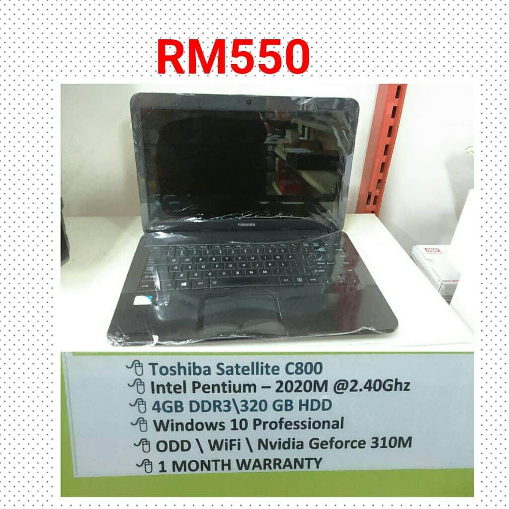 Used Toshiba C800 Laptop Malaysia