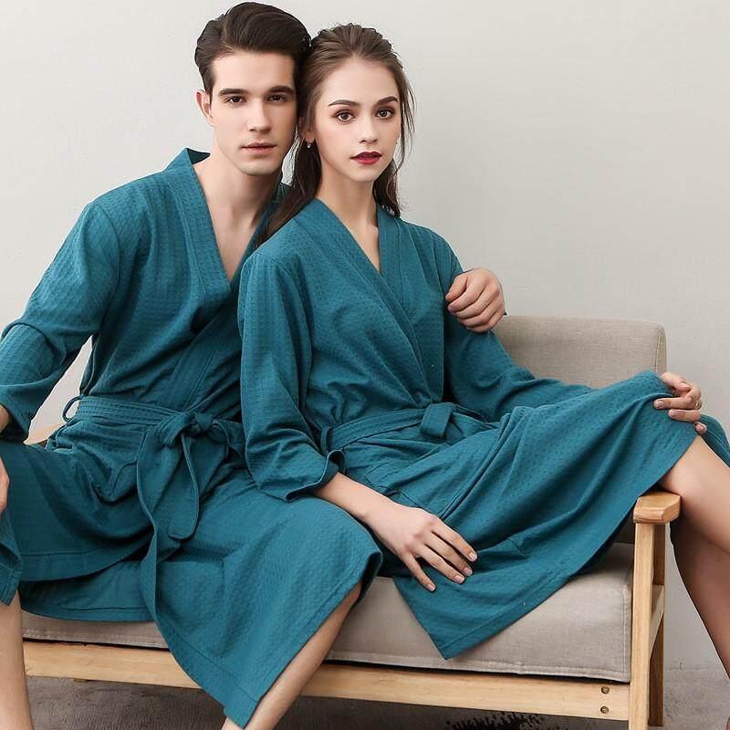 Women Men Waffle Kimono Bathrobe Cotton Sleepwear Spa Robe Nightwear  Nightgown Women Suck Water Bathrobe 663d6e88c