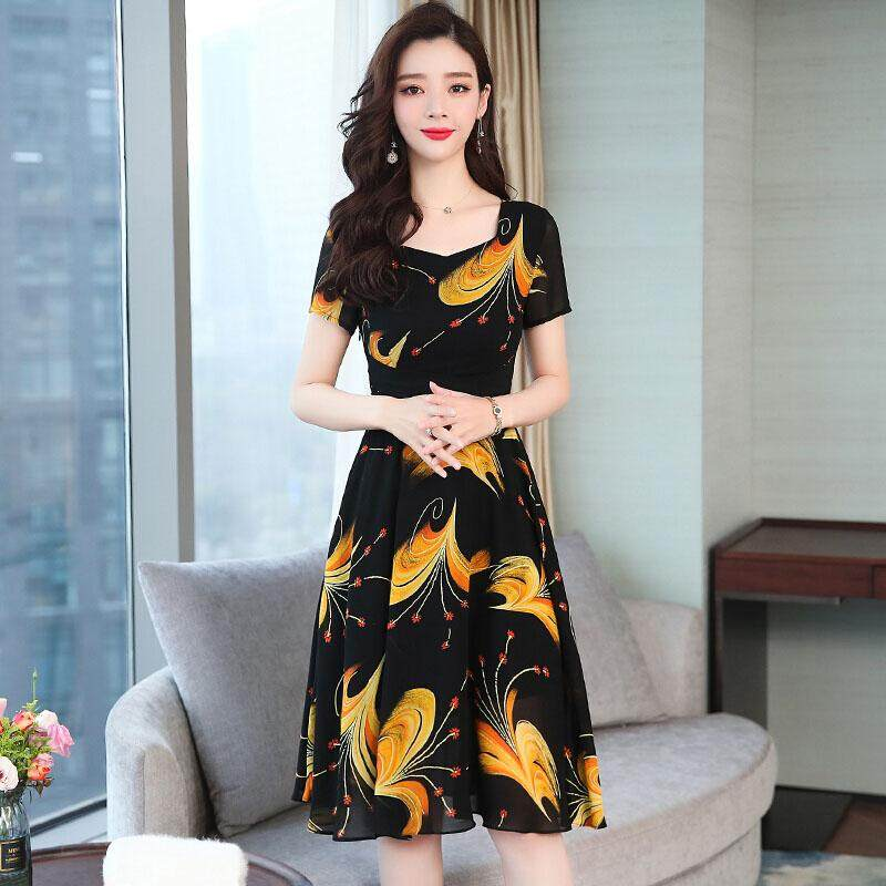 e48b7eb91053a SZWL Summer Korean Dress Women Casual Loose Floral Printed Short Sleeves  A-line Waisted Dress