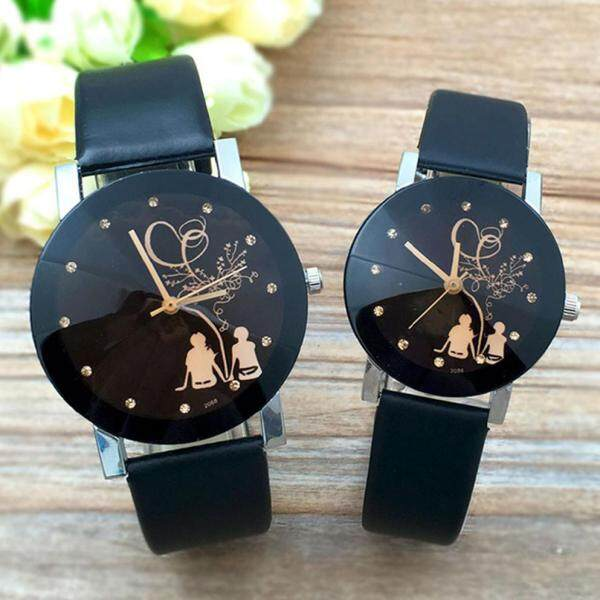 JIU Fashion Couple Stylish Spire Glass Belt Quartz Watch Malaysia