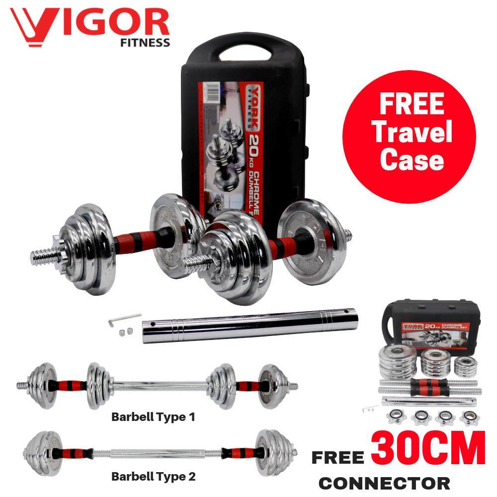 20KG Chromed Dumbbell With Travel Case (Free 30cm Connector) image on snachetto.com