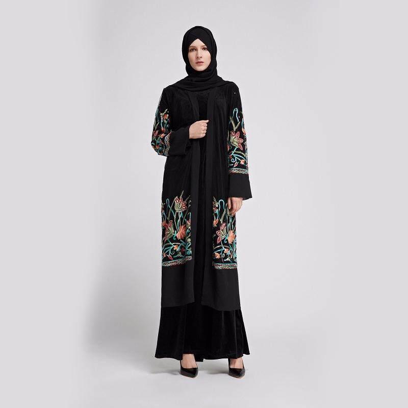 LR93 M-2XL Size Muslim Abaya Embroidery Floral Yarn Long Cardigan Robe  Jubah Ramadan Arab af7866b7d156
