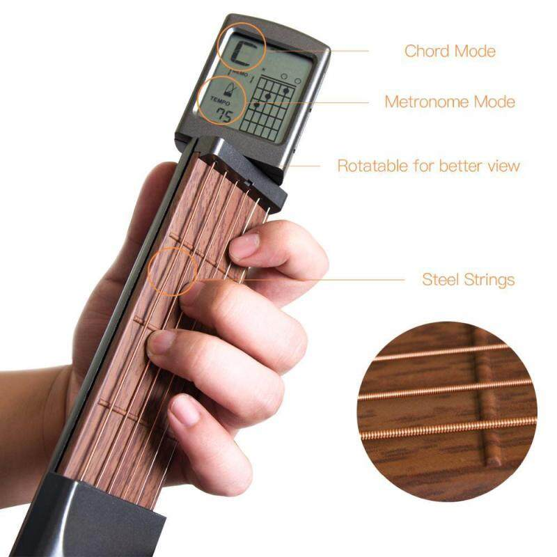 OrzBuy Pocket Guitar Chord Trainer, Mini 6 Fret Portable Guitar Beginner Practice Tool with Rotatable Chords Chart Screen and Wretch,No noise and interference Malaysia