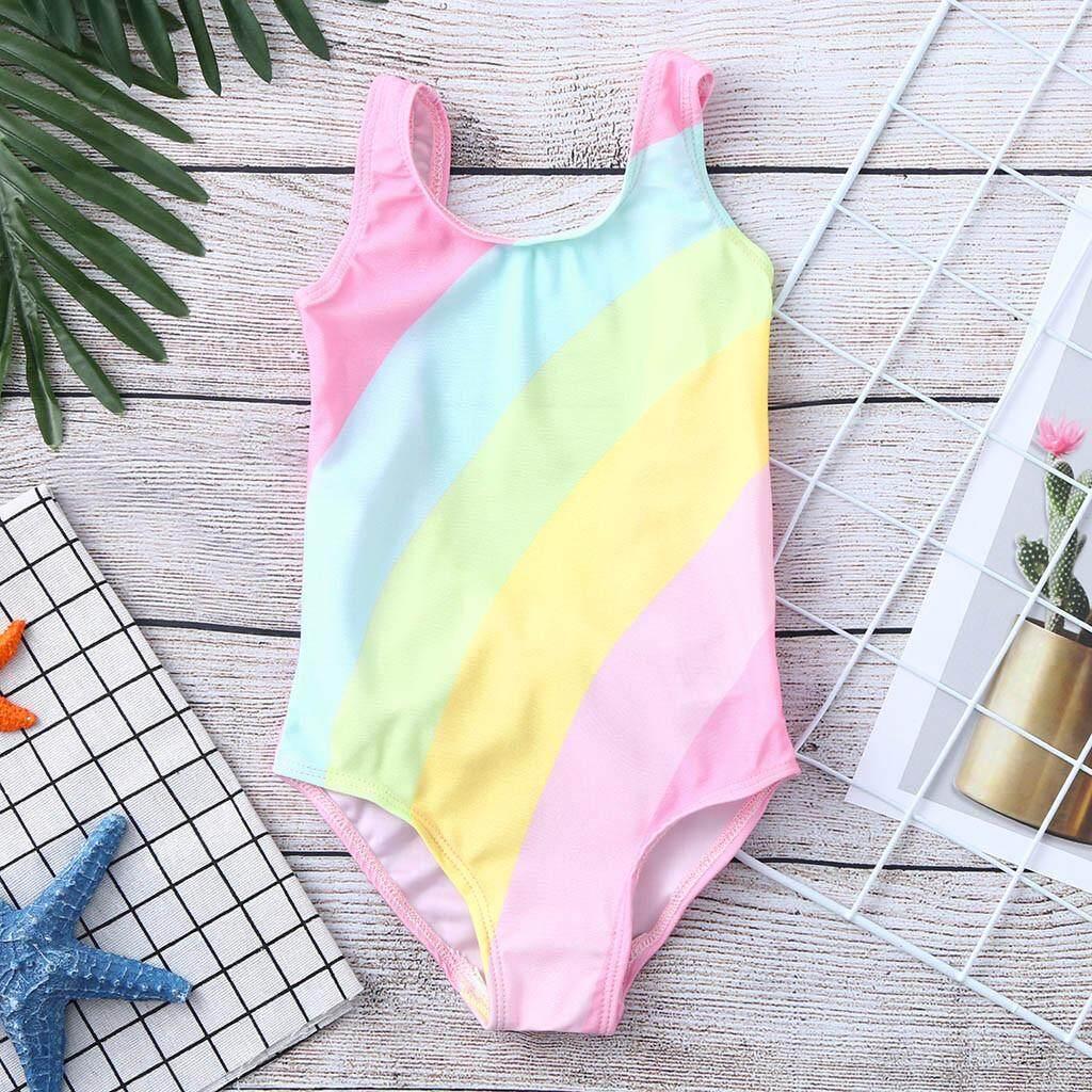 431ed2434e27e 2019 swimwear Toddler Baby Kids Girls Stripe Rainbow Swimwear Swimsuit Beach  Romper Clothes