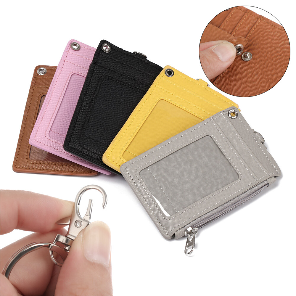 PU Leather Bus Cards Cover Business Coin Purse ID Card Holder Wallet Keychain