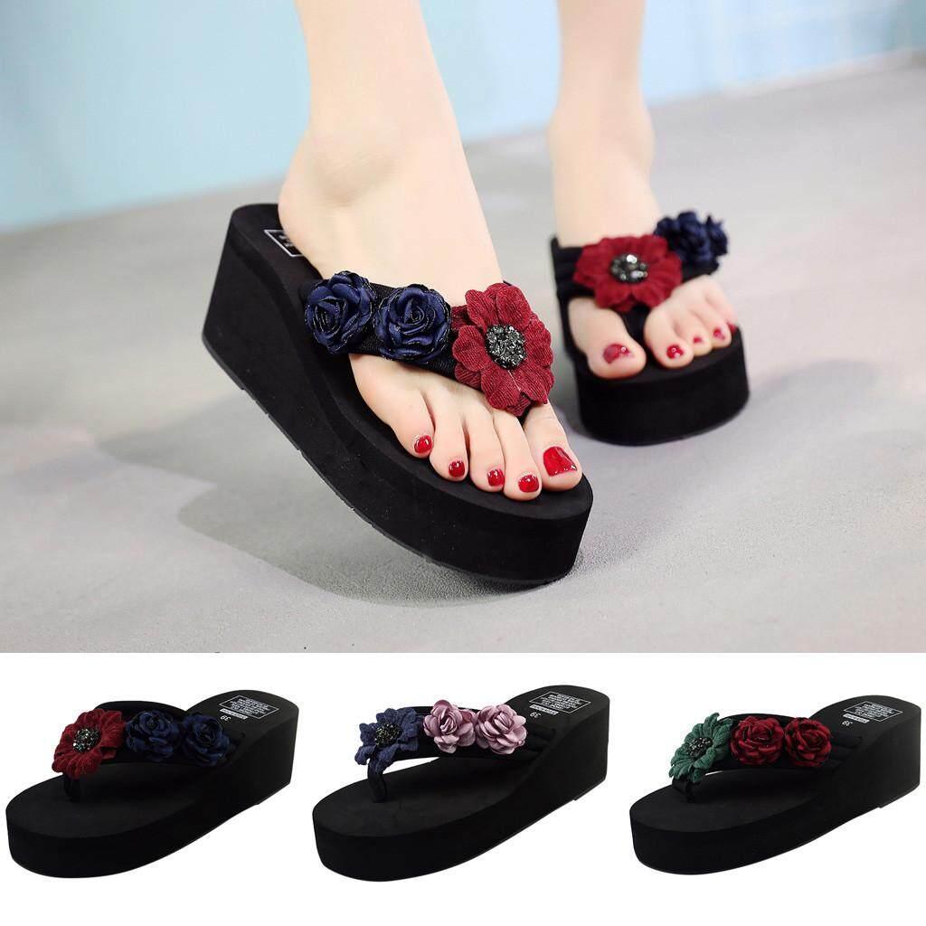 978e2678558e Watsonshop Women Bohemian Flower Thick-bottomed Flip-Flops Summer Sandals  Beach Shoes2019 hot sale