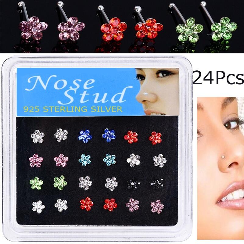 Walerv 24pcs Colored Crystal Flower Nose Ring For Women Cute Nose