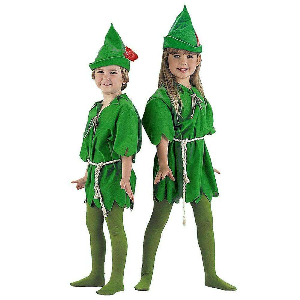Peter Pan ELF Robin Hood Unisex Kids Book Week Fancy Costume Age 4-6