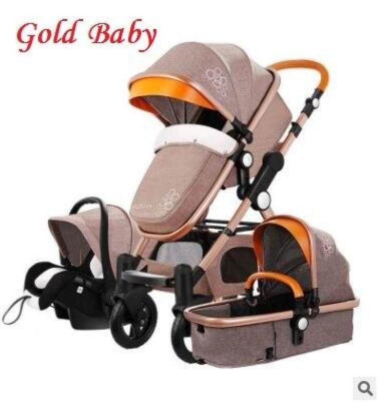 Free Shipping Baby Stroller Higher Land-Scape Golden Baby 3 In 1 Portable Folding Stroller 2 In 1 Luxury Carriage Singapore