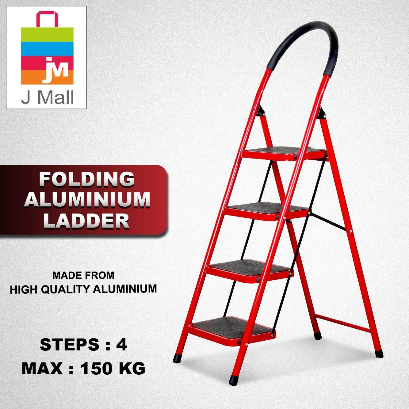 JMALL NON SLIP FOLDING L/WEIGHT LADDER (4 WIDE STEPS)
