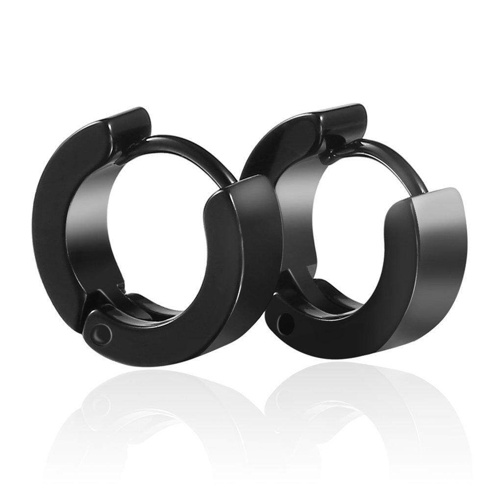 Oh Unique Cool Mens Stainless Steel Hoop Piercing Ear Earring Studs (black) By Ohbuybuybuy.