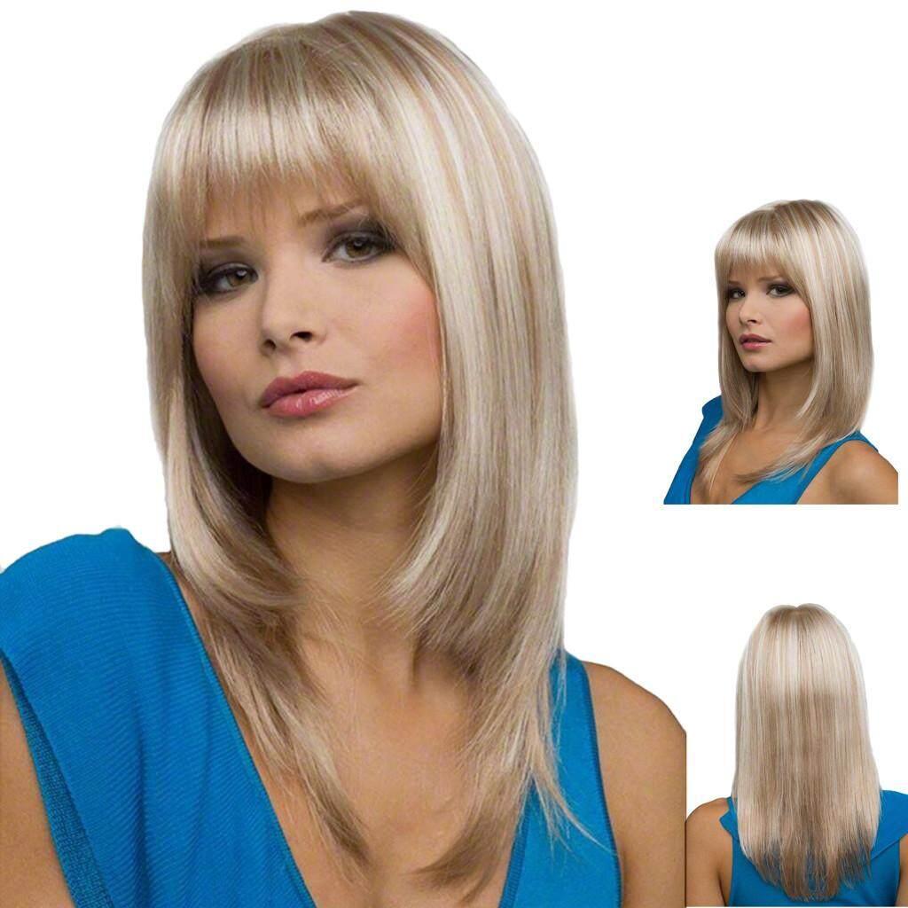 Dyerstore-Fashion Wanita Sexy Berponi Penuh Wig Wig Pendek Lurus Wig Gaya Wig Keren