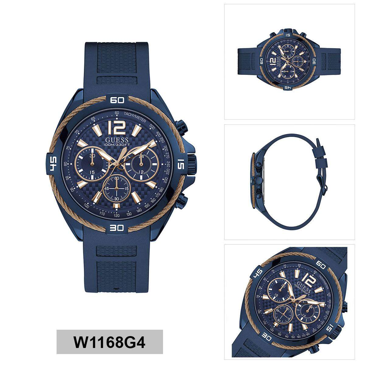 b5355c030 Guess Surge Chronograph Blue Stainless-Steel Case Silicone Strap Mens  W1168G4