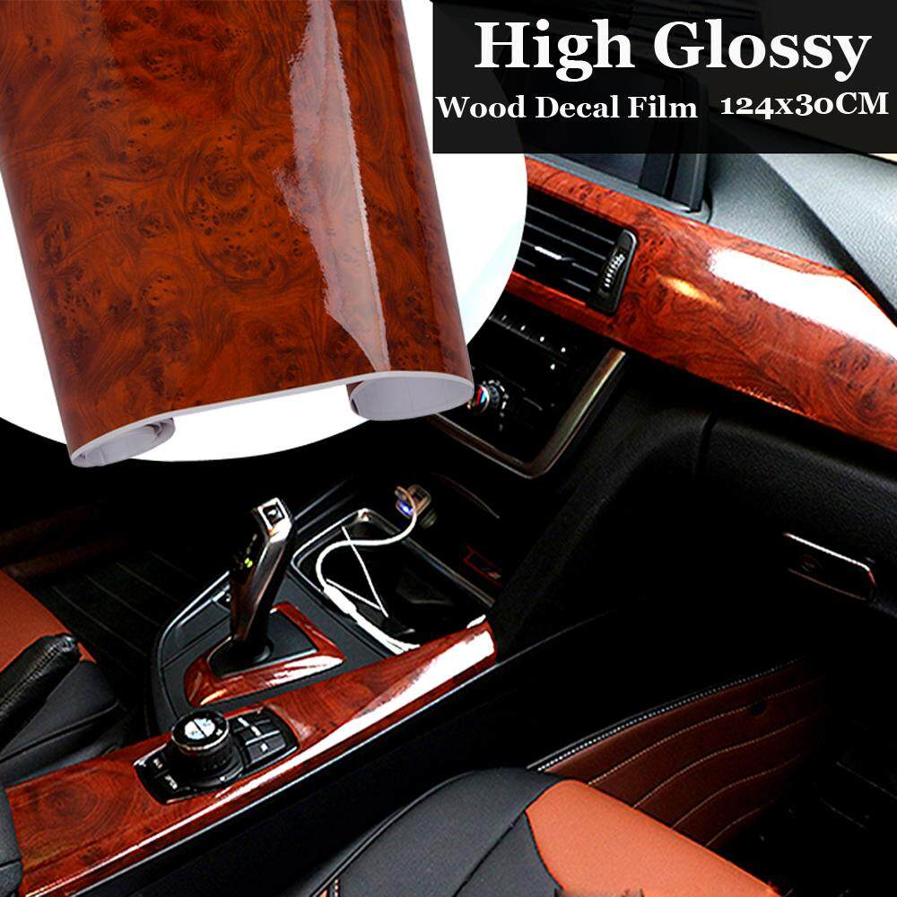 Ishowmall high glossy wood grain vinyl sticker decal car internal diy film