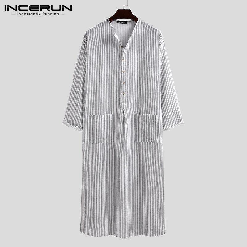 HijabFab INCERUNเสื้อคลุมบุรุษลายทาง,เสื้อคลุมซาอุดิอาระเบียผ้าชีฟองคลุมสะโพกเสื้อผ้าอิสลาม