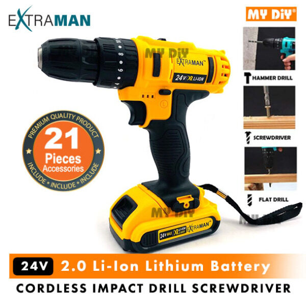 MYDIYHOMEDEPOT - EXTRAMAN 24v Cordless Impact Drill Screwdriver Inclusive Of 2.0 Li-Ion Lithium Battery With Accessories (EX-VM24)
