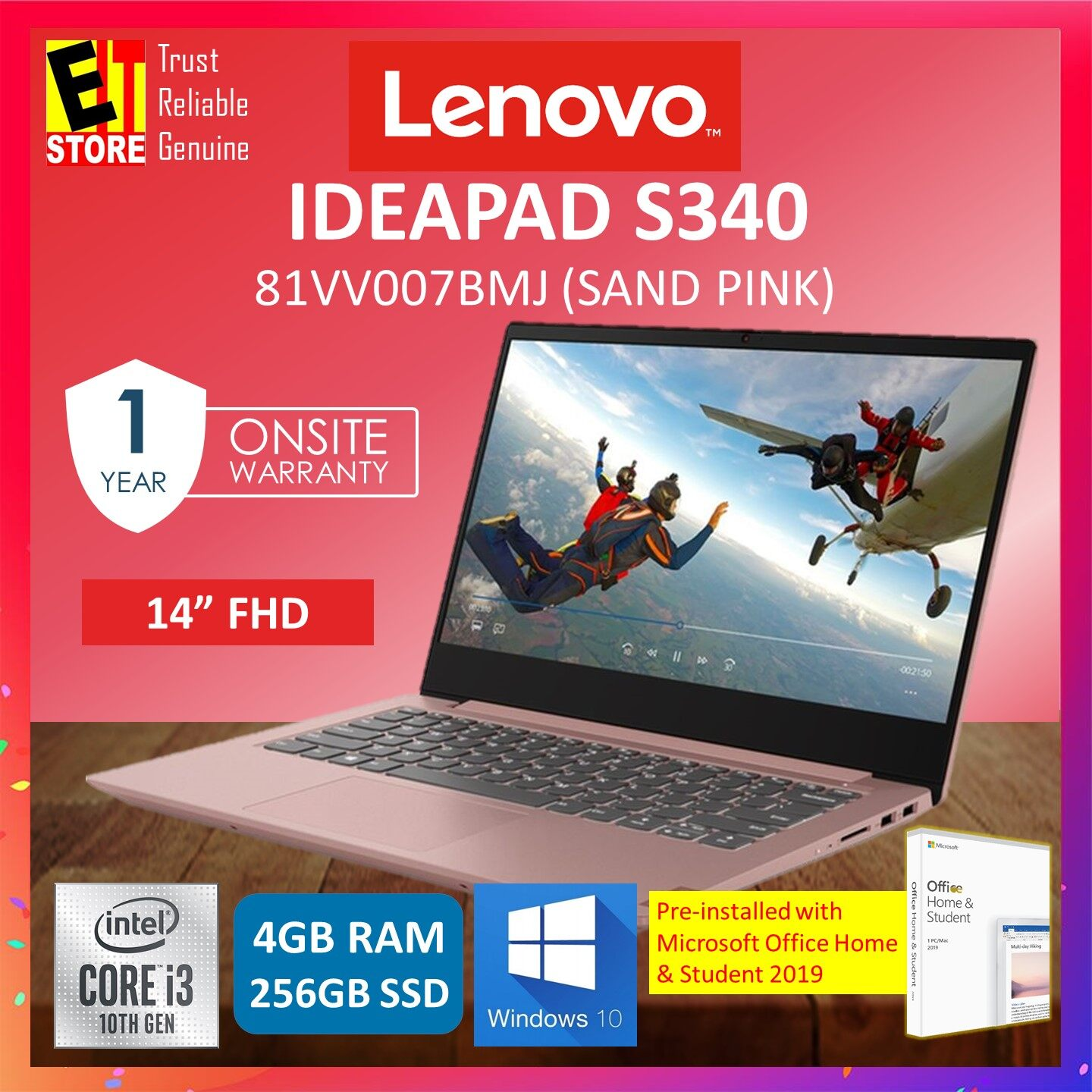 LENOVO IDEAPAD S340-14IIL 81VV007BMJ LAPTOP (SAND PINK) I3-1005G1/4GB/256GB SSD/14 FHD/INTEL/W10/ MICROSOFT OFFICE HOME & STUDENT Malaysia