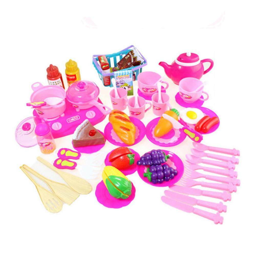 54pcs Plastic Kitchen Food Fruit Vegetable Cutting Toys Kids Pretend Play Educational Kitchen Toys Cook Cosplay Children Gifts By Dragonlee.