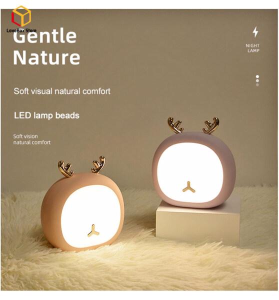 LoveBox Đèn Ngủ LED Sạc Được Hình Thỏ Hươu Đèn Ngủ Động Vật Cảm Ứng Mini USB Kỳ Nghỉ