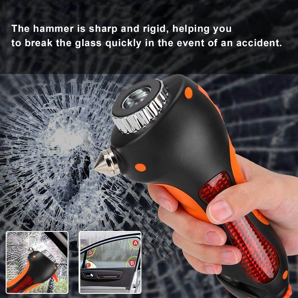 6 in 1 Multi-Purpose Safety Car Window Hammer Emergency Rescue Tool with LED Flashlight