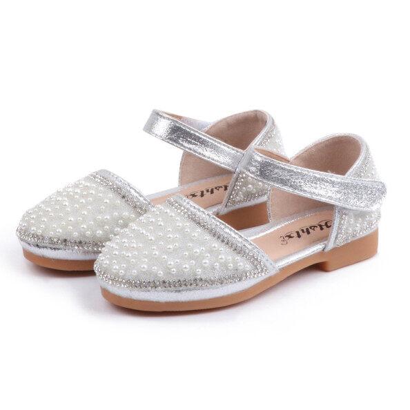 Giày búp bê Kio cho bé gái xăng đan công chúa đính pha lê ngọc trai đi biển mùa hè cho bé gái trẻ sơ sinh giá rẻ