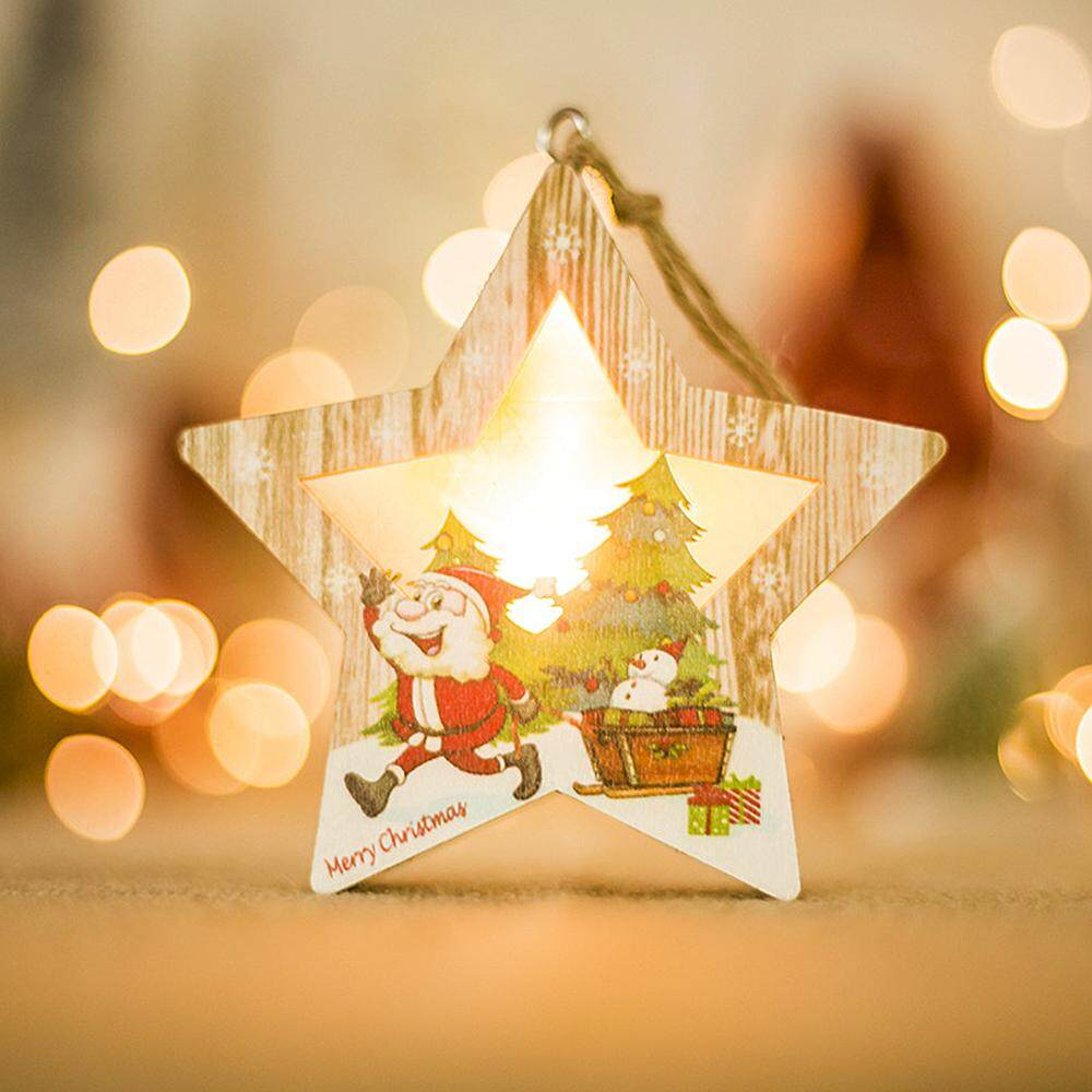 Xjing- Christmas Tree Wood Luminous Decoration Christmas Led Light Round Hanging Decor Xmas Round Santa Claus Ornaments Accessories By Xjing.