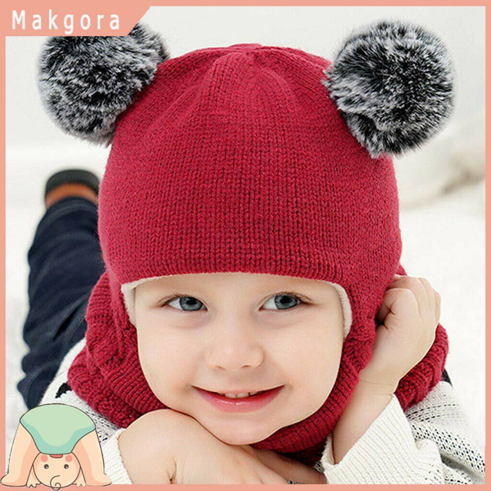 Fashion Baby Boys Girls Children Winter Cap Knitted Warm Hat and Scarf Set Gifts