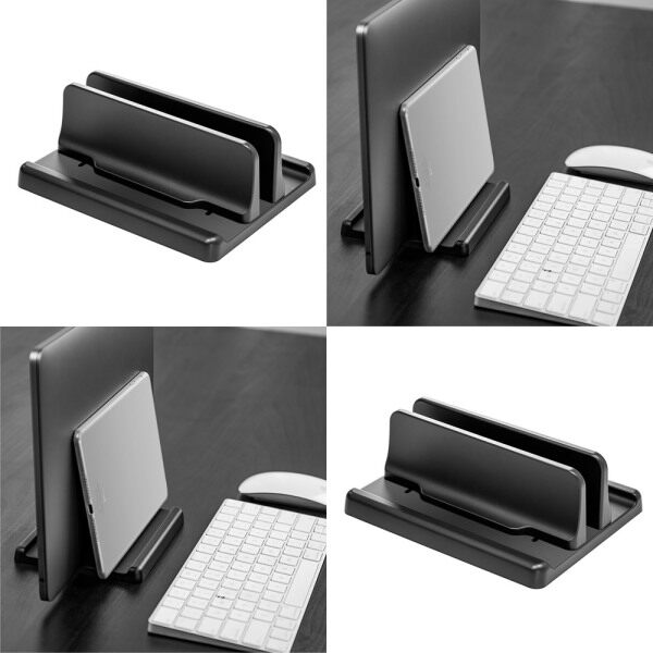 Double Vertical Laptop Desktop Stand Holder with Adjustable Dock (Up to 17.3 Inch)
