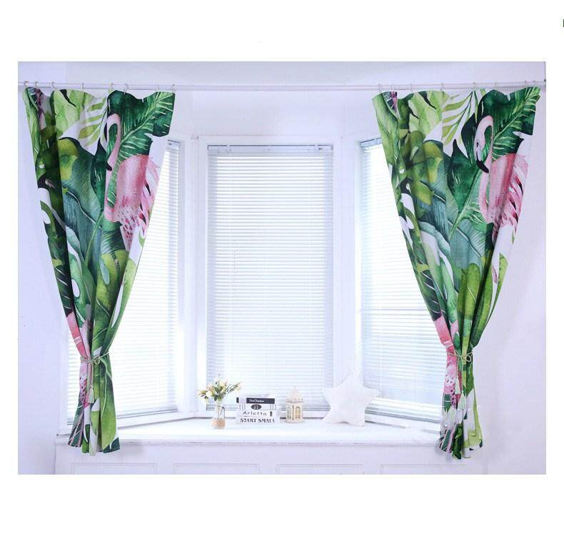 130x180cm 1Pc Blackout Curtain Tropical Leaves Flamingo High Shading Curtain Window Drape for Summer Home Office Decoration