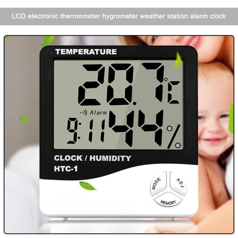 Máy Đo Độ Ẩm Nhiệt Độ Điện Tử LCD Trong Nhà Nhiệt Kế Kỹ Thuật Số Máy Đo Độ Ẩm Đồng Hồ Báo Thức Trạm Thời Tiết HTC-1 bán chạy