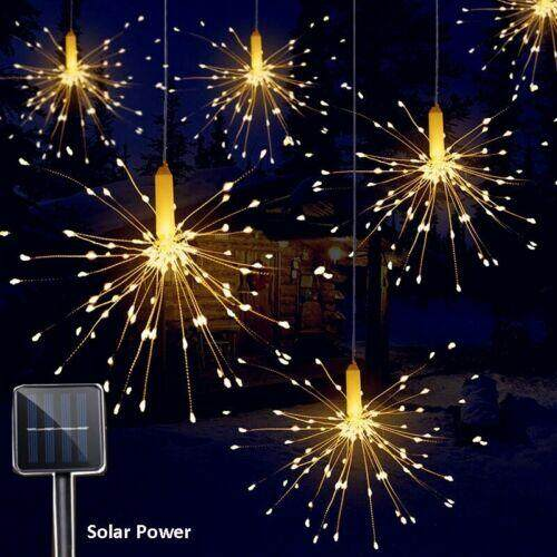 100/120/150/180LED Solar Power Firework Fairy String Lights Remote Control Waterproof Christmas Garden Party Decor Y05